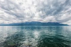 Panorama Of Geneva Lake Near Montreux Royalty Free Stock Photo