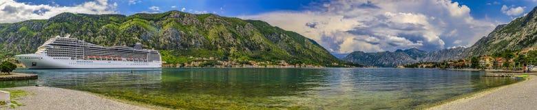 Free Panorama Of Kotor Bay Or Boka Kotorska, With A Cruise Ship And Mountains Reflecting In The Water In Montenegro, Kotor Royalty Free Stock Photos - 191134068