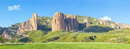 Panorama Of Mallos De Riglos Rocks Stock Image