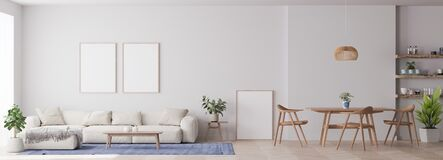 Free Panorama Of Modern Living Room With White Furniture And Dining Area Royalty Free Stock Image - 192824806