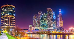Free Panorama Of Moscow City With Reflections In Moscow River At Night. Stock Photo - 131750630