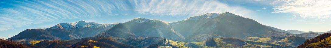 Free Panorama Of Mountain Ridge With Snowy Tops Stock Images - 130464734