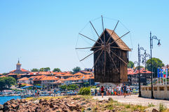 Panorama Of Nesebar Windmill Stock Photos