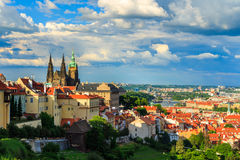 Panorama Of Prague From Petrin Gardens, Castle And St. Vitus Cathedral Visible Of The Left, Bridges Royalty Free Stock Photo