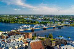 Panorama Of Riga City With Railway Bridge Stock Image