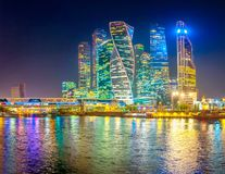 Free Panorama Of Skyscrapers Of Moscow City With Reflections In Moscow River At Night. Royalty Free Stock Photo - 131750615