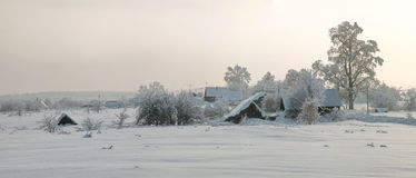 Free Panorama Of Snow-covered Houses With Deep Snow All Over Stock Photos - 89197093