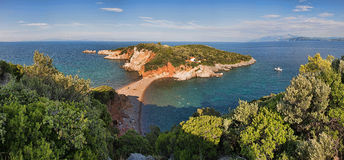 Panorama Of The Beach In Greece Royalty Free Stock Photos
