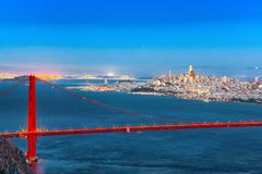 Free Panorama Of The Gold Gate Bridge And San Francisco City At Night, California Stock Images - 137823534