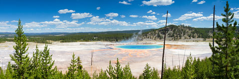 Panorama Of The Grand Prismatic Spring Stock Photo