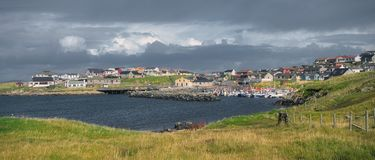 Free Panorama Of The Harbour, Pier And Village Of Hamnavoe On The West Cost Of Mainland In Shetland, UK Stock Image - 160016391