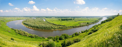 Panorama Of The River And Water Meadows. Stock Image