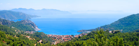 Panorama Of The Sea Gulf On Top Of The Mountain Stock Photos