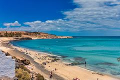 Panorama Of The Surf Beach At Punta De Guerepe, North Of The Hotel - Just A 10 Minute Walk Royalty Free Stock Photo