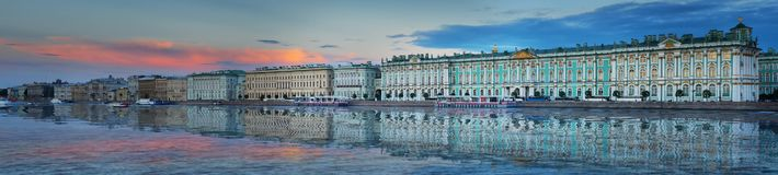 Free Panorama Of The Winter Palace And The Hermitage At Dusk Sunset In St. Petersburg Royalty Free Stock Photo - 134154275