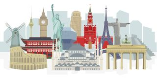 Panorama Of World Architectural Landmarks, Vector Detailed  Color Illustration For Design. Stock Photography