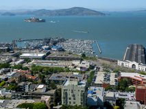 Panorama off Coit Tower, San Francisco. Alcatraz Island (The Rock), SF Bay, Piers 35 and 39, Fishermans Wharf, San Francisco, CA. View from Coit Tower, Telegraph Stock Photo