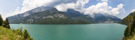 Panorama off lake Molveno in Italy Royalty Free Stock Image