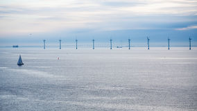 Panorama with offshore wind farm in morning Stock Photo