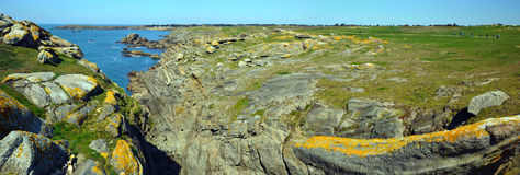 Panorama ofWild rocky coastline in south-east of Yeu Island Royalty Free Stock Images