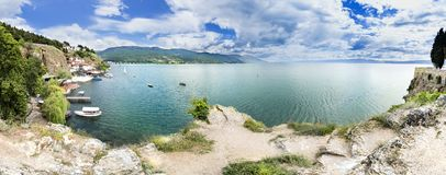 Panorama of Ohrid city and lake Ohrid on a beautiful summer day Royalty Free Stock Image