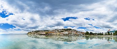 Panorama of Ohrid city and lake with reflection Ohrid in a beautiful summer day royalty free stock photo