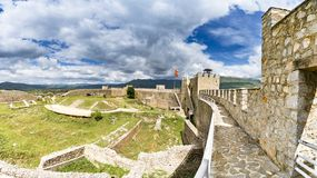 View from watchtower of famous old fortress ruins of tzar Samuel in Ohrid. Panorama of Ohrid - Macedonia. View from watchtower of famous old fortress ruins of Royalty Free Stock Images