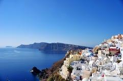 Panorama Oia i niektóre wyspy Santorini archipelag w Grecja Strategiczny punkt widzieć zmierzch obraz royalty free