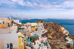 Panorama Oia or Ia on the island Santorini, Greece Royalty Free Stock Images