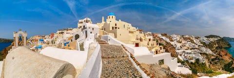 Panorama of Oia or Ia, Santorini, Greece Stock Image