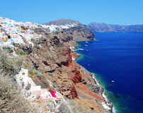 Panorama of Oia at the island of Santorini Stock Photos