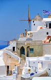 Panorama of Oia at the island of Santorini Royalty Free Stock Images