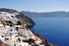 Panorama of Oia and a partial view of the Caldera of Santorini in Greece. A strategic point to see the sunset. royalty free stock photo
