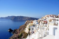 Panorama of Oia and some islands of Santorini archipelago in Greece Royalty Free Stock Photo