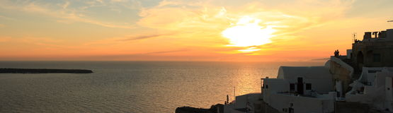 Panorama of Oia Sunset. Santorini is a small, circular archipelago of volcanic islands located in the southern Aegean Sea, about 200 km southeast from Greece's Royalty Free Stock Photography