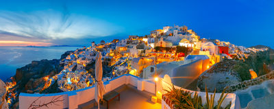 Panorama of Oia at sunset, Santorini, Greece Royalty Free Stock Image