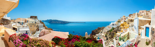 Panorama of Oia village, Santorini island. Panorama of colorful houses in Oia town, Santorini island Royalty Free Stock Photo