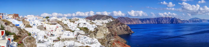 Panorama of Oia village on Santorini island in Greece Stock Images