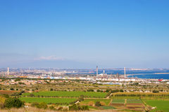 Panorama with oil plants Stock Photography