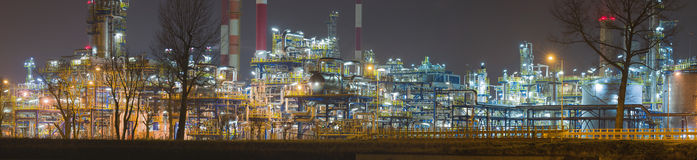 Panorama of oil refinery by night, Poland Stock Image