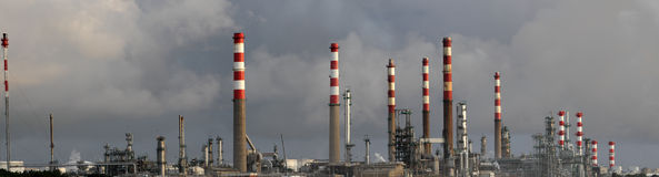 Panorama of an oil refinery Royalty Free Stock Photo