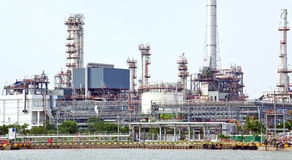 Panorama of Oil refinery plant Stock Photos
