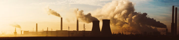 Panorama of oil refinery Royalty Free Stock Image