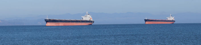 Panorama, Oil tankers anchored. In the Columbia river near  Astoria, Oregon Stock Photo