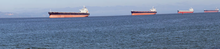 Panorama, Oil tankers anchored. In the Columbia river near  Astoria, Oregon Stock Images
