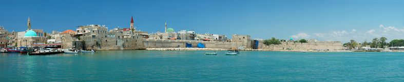 Panorama of Old Akko city ,Israel Royalty Free Stock Images