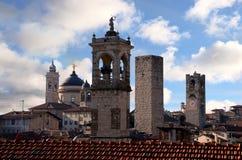 Panorama of old Bergamo, Italy. Stock Image