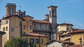 Panorama of old Bergamo, Italy. Bergamo, also called La Citt dei Mille, The City of the Thousand , is a city in Lombardy, northern Royalty Free Stock Photography
