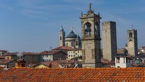 Panorama of old Bergamo, Italy. Bergamo, also called La Citt dei Mille, The City of the Thousand , is a city in Lombardy, northern Stock Photography