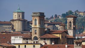 Panorama of old Bergamo, Italy. Bergamo, also called La Citt dei Mille, The City of the Thousand , is a city in Lombardy, northern Royalty Free Stock Photo